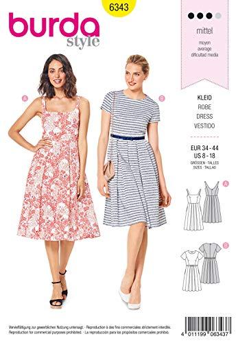Burda Schnittmuster 6343, Kleid [Damen, Gr. 34-44] zum selber nähen, ideal für Fortgeschrittene [L3]