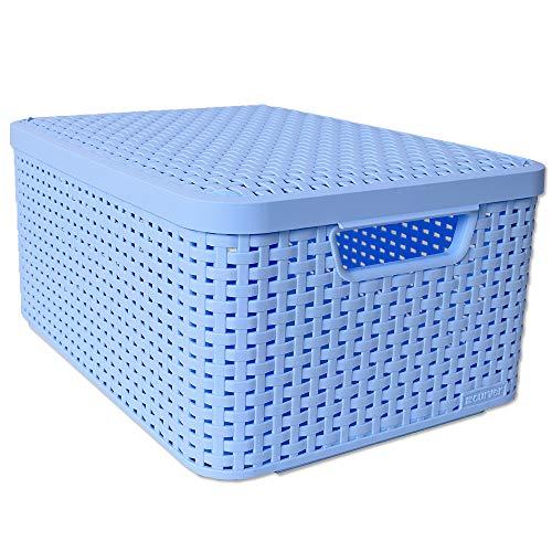 CURVER Box Style M Aufbewahrungsbox Deckel Stapelbehälter Box Kiste Ordnungsbox Rattan Optik 18L Hellblau