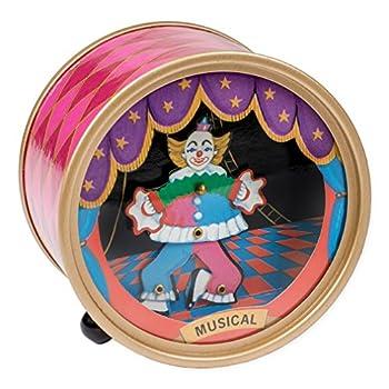 Splendid Music Box Co Dancing Circus Clown Pink Argyle Drum Hardboard Musical Figurine Plays Tune Send in The Clowns