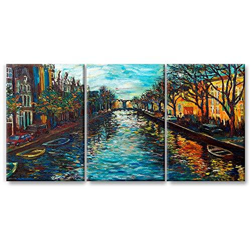 JOSS DESIGN Cuadros Decorativos Set de 3 Piezas, Diseño Imitación Oleo Canal de Amsterdam, Impresión Tela Canvas 40 x 60 cm