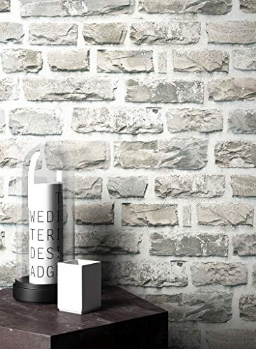 Steintapete Vlies Grau Edel   schöne edle Tapete im Steinmauer Design   moderne 3D Optik für Wohnzimmer, Schlafzimmer oder Küche inklusive NewroomTapezier-Profibroschüre, mit Tipps für perfekteWände