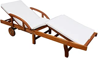 Festnight Patio Chaise Lounge Chair with 2 Wheels, Sun Lounger with Cushion , Solid Acacia Wood