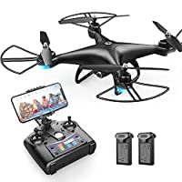 Holy Stone HS110D FPV RC Drone with 1080P HD Camera Live Video 120° Wide-Angle WiFi Quadcopter with Altitude Hold Headless Mode 3D Flips RTF with Modular Battery, Color Black by Holy Stone