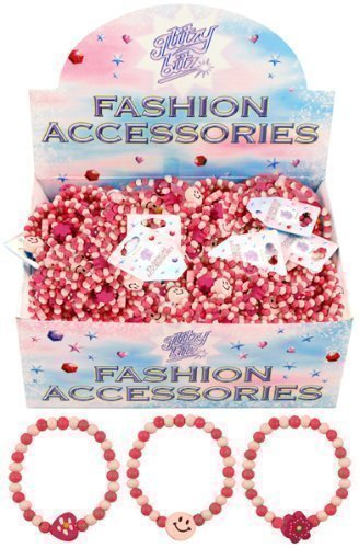 6 x Pretty Pink Girls Wooden Bead Bracelets Party Bag Fillers Hearts by Henbrant
