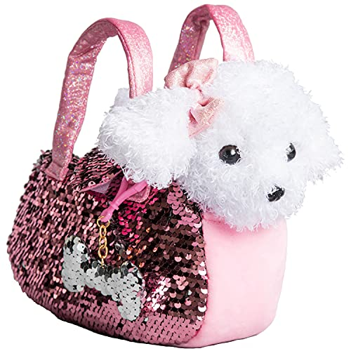 Little Jupiter Plush Dog Pet Carrier Set with Purse with Reversible Sequins & Charm - Labradoodle Stuffed Animal Puppy for Girls - Cute Plushie Toy for Kids Ages 3 - 4 - 5 - 6 – 7