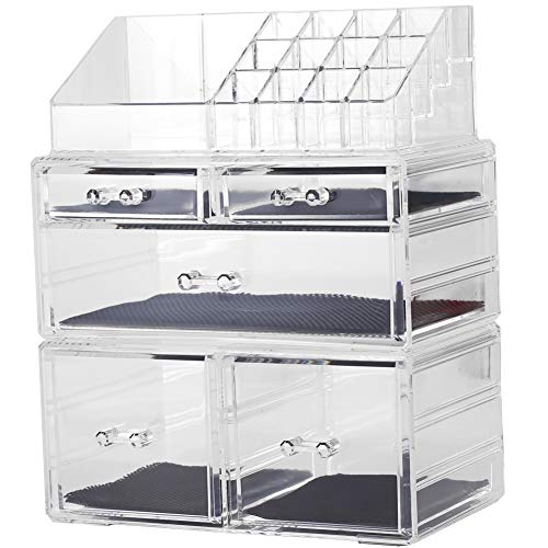 Sooyee Makeup Organizer 3 Pieces Clear Acrylic Cosmetic Storage Drawers and Jewelry Display Box(5 Drawers 7 Tiers)