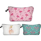 Deanfun 3pcs/set Super Funny 3D Printing women cosmetic bag Multifuncition Pencil Holder (unicorn) (Flamingos)