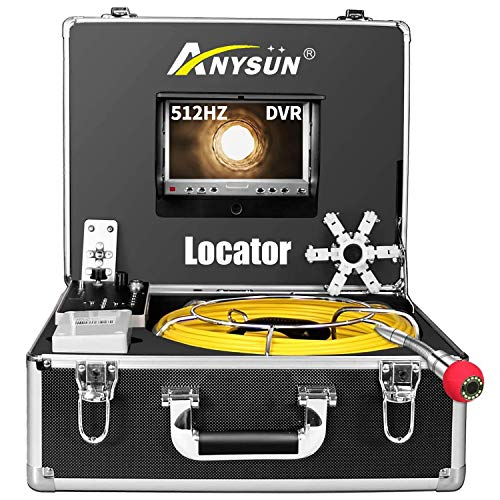 """Sewer Camera 100ft with Locator, 512Hz Sonde Transmitter Plumbing Camera Snake with DVR Recorder, Inspection Cam with 7"""" LCD Monitor with Fiber Optic Cable Wire (8 GB SD Card Included) (100ft/30m)"""