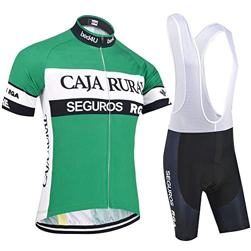 SUHINFE Men's Short Sleeve Cycling Jersey Breathable Cycling Clothing Quick Dry with Cushion with 3D Seat Cushion Road Bike, mens, SEGU, L