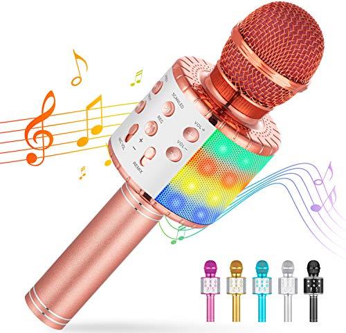 Cvozo Bluetooth Karaoke Mikrofon Kinder, Drahtlose Dynamisches Mikrofon mit Gesprächen, Spielzeug und Gehäus für Jungen und Mädchen, Kompatibel mit Android/IOS