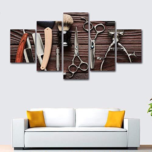 Angle&H Wandkunst 5 Stücke Friseursalon Friseur Plakate Segeltuch Drucken Modular Gemälde Friseur Dekoration Poster Bilder,A,40x60x2+40x100x1+40x80x2