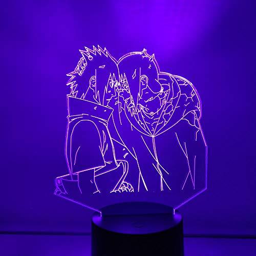 Lámpara de luz 3D 7 colores Naruto Itasasuke Figura de acción Anime Naruto Modelo DollUSB 7 colores Sensor táctil Niño Niños Regalo Lámpara de mesa Decoración de escritorio-16 color remote control