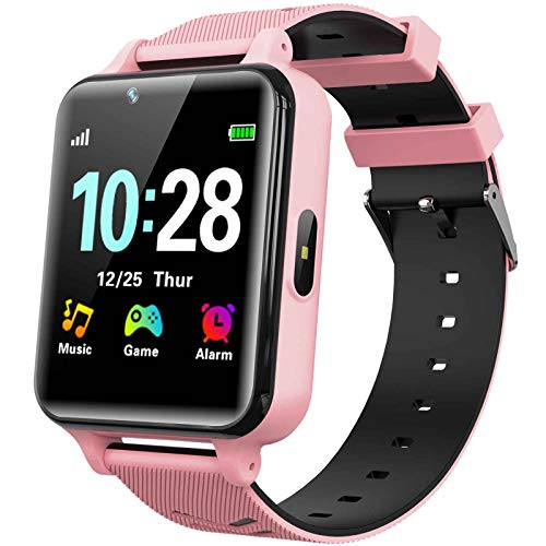 WILLOWWIND Kids Smart Watch for Boys Girls - Children's Smartwatch with 14 Games Music Mp3 Player 2 Way Phone Calls Alarms Calculator for Students 4-12 Years Old Birthday Gift (Pink)