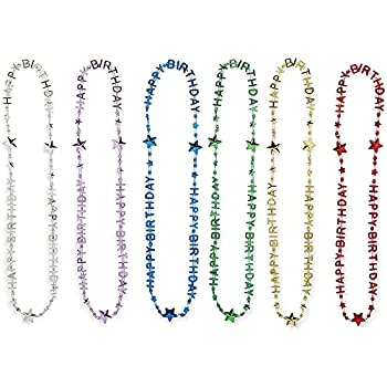 Happy Birthday Bead Necklace Rainbow Party Favors  24 Pack