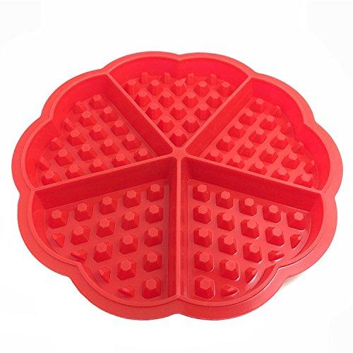 Bakeware-Plaque de cuisson en Silicone gaufrée Mini moules à Muffin en forme de cœur Design gaufré cafés, Rouge (cœur)