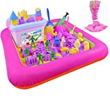 Kids Indoor PVC Inflatable Castle Sand Box Sandbox Tray Table Fun Play Toys Random Color Portable Inflatable Sand Box, Moldable Play Sand Tray ,Playing Cards on The Water(Large )
