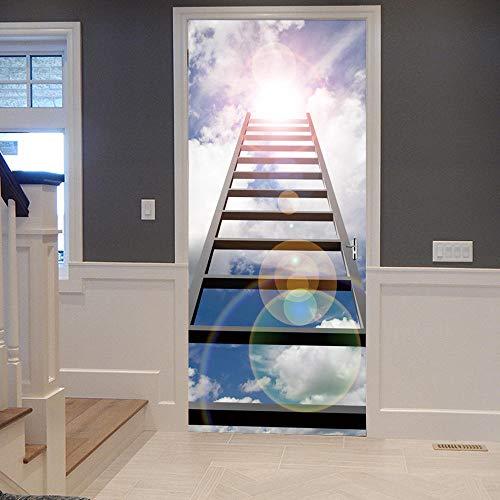 BXZGDJY 3D-deursticker, zelfklevende achtergrondafbeelding, ladder, witte wolken, landschap, pvc, afneembare deurfilm, doe-het-zelfklevend, bloemen, woonkamer, slaapkamer, kinderen, restaurant, kantoor, bar, deur, kunst decoratie 86x200cm