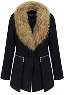 neveraway Womens Classic Faux Fur Collar Jacket Over Size Winter Warm Top Outwear