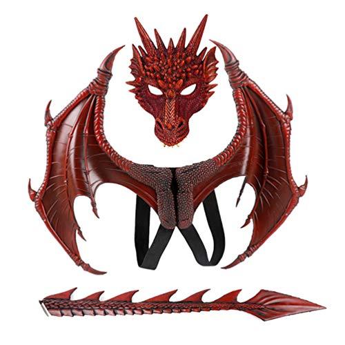 PRETYZOOM 1 Juego de Alas de Dragn Y Disfraz de Mscara de Disfraz de Dinosaurio para Nios Nios Nias (Mscara de Cola de ala de Dragn)
