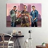 HAOOMOSP Impresión sobre lienzo 60 x 80 cm, sin marco, juego de póster Grand Theft Auto V Game, póster GTA 5, impresión, amantes de los juegos, habitaciones, decoración del hogar