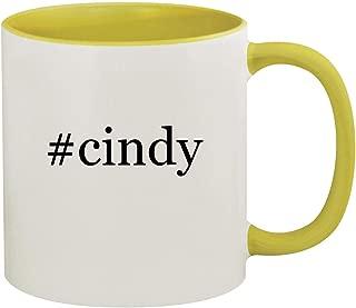 #cindy - 11oz Hashtag Ceramic Colored Inside & Handle Coffee Mug, Yellow