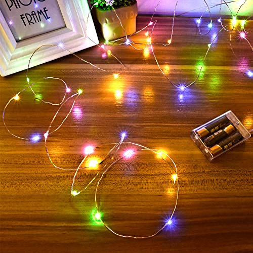 Ariceleo Led Fairy Lights Battery Operated, 2 Packs Mini Battery Powered Copper Wire Starry Fairy Lights for Bedroom, Christmas, Parties, Wedding, Centerpiece, Decoration (5m/16ft Multi-Colored)