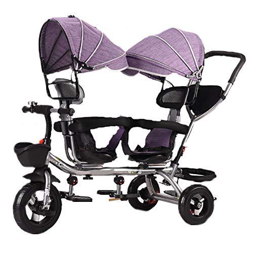 FLYFO Triciclo per Bambini,Doppio Sistema Frenante,Carrello Gemellare A Ruote Vuote in Titanio Bicicletta Pieghevole Doppia con Sedile Girevole A Una Chiave,A