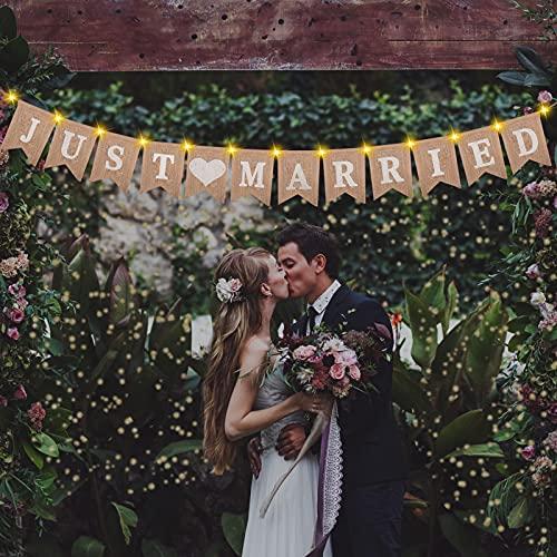 Ulikey Just Married Girlande, Hochzeit Ammer Banner mit 3 Meter Fee Lichterkette, Just Married Goldene Konfetti Dekoration Hängend Zeichen Girlande für Braut Hochzeit Engagement Auto Party Dekoration
