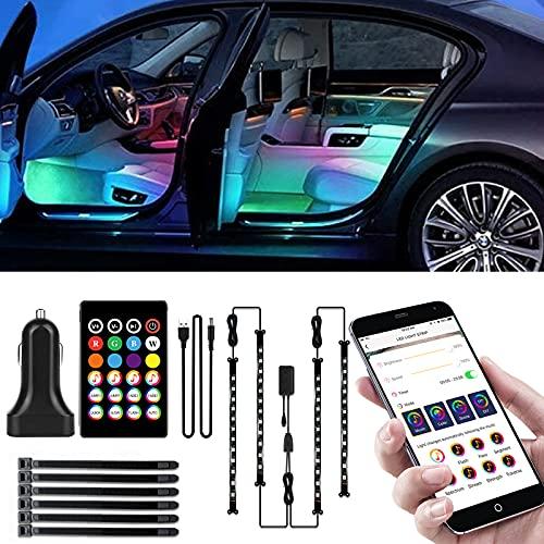 Auto LED Innenbeleuchtung, RGB Auto Innenraum Ambientebeleuchtung mit APP und Remote, Musik Steuerbar Auto LED Fußraumbeleuchtung LED Strip Atmosphäre Licht mit USB Port und Zigarettenanzünder 12V