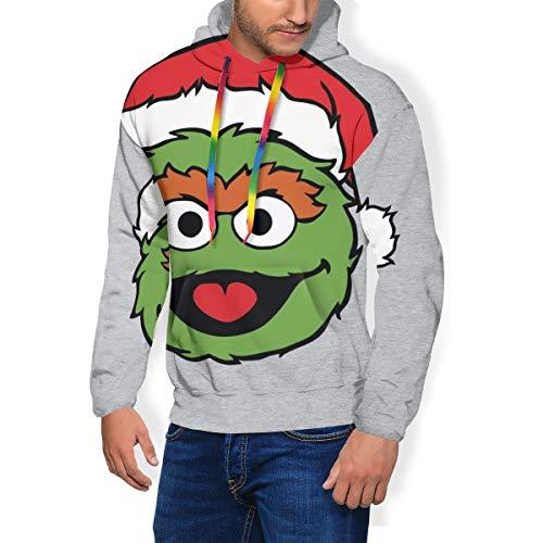 SES-AME Street Oscar The Grouch Christmas Hat Men's Fashion Sweatshirt Hoodie Hooded Pullover Pockets Plus Velvet Black