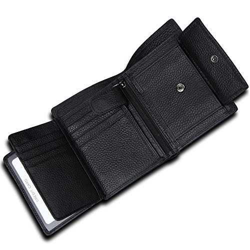 Wallet for Men With Coin Pocket RFID Leather Card Holder Big Trifold 3 ID Windows (Black Lichee Patten)
