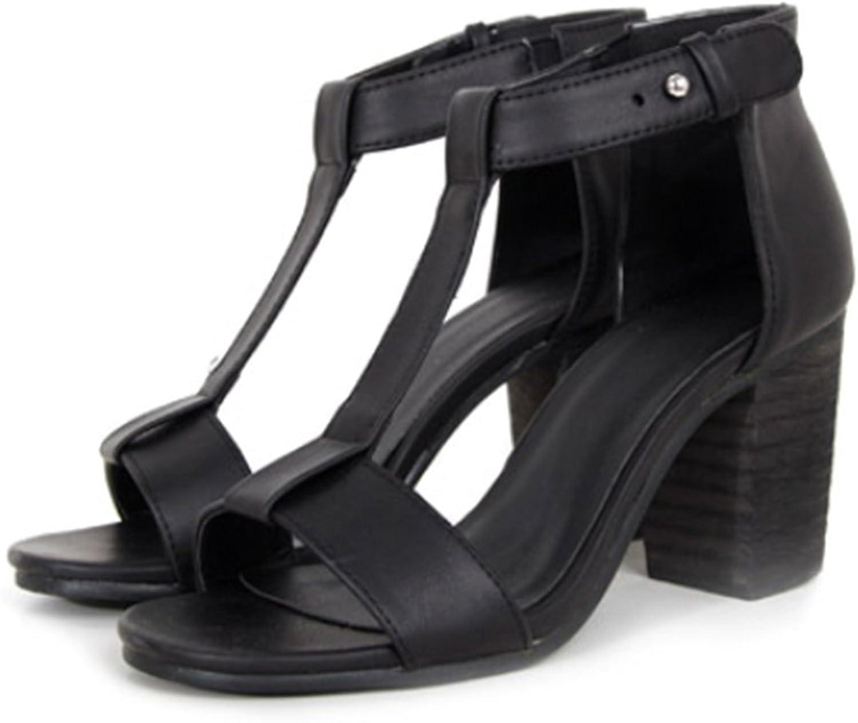 High Thick Heel Sandals Open Toe T Shape Strap black 39