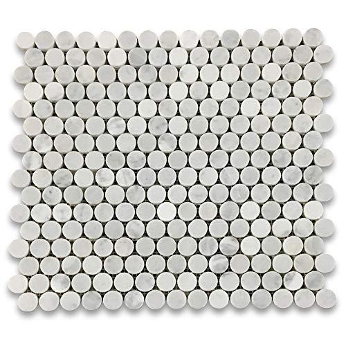 Stone Center Online Carrara White Italian Carrera Marble Penny Round Mosaic Tile 3/4 inch Honed Venato Bianco Bathroom Kitchen Wall Floor Tile