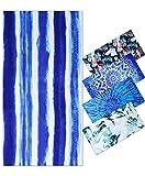 Toalla de Playa Grandes de Antiarena de Microfibra para Hombre Mujer, 180x90cm, Toallas Baño Calidad Secado Rapido para Piscina, Manta Playa, Toalla Yoga Deporte Gimnasio, Rayas Azules