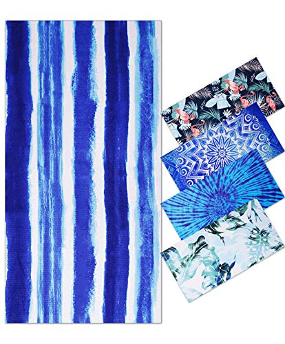 Telo Mare Grande in Microfibra Antisabbia Donna, 180x90cm, Sottile Teli Asciugamano Mare con Elastici Estathe, Asciugamano da Spiaggia One Piece, Fantasia Righe, Blue