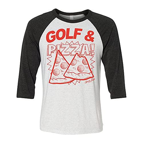 Swing Juice Men's Golf & Pizza 3/4 Sleeve Graphic Raglan T-Shirt - Small