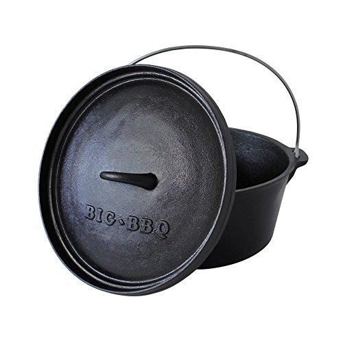 ToCis Big BBQ Classic Dutch Oven 6.0 Gusseisen eingebrannt 12er Kochtopf mit Deckelheber...