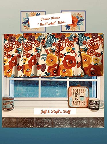"""Farmhouse Valance, Flea Market, Cotton Valance Window Curtain Treatment Fits Window 28""""Wide, if wider, you need 2 valances. Spread out FLAT this valance is 40W x 15L"""