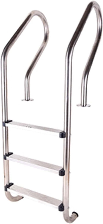 HHXD Antideslizante Escalera para Piscina Piscinas Privadas,Pool Escalera de Seguridad Acero Inoxidable/A / W50.2cm*158cm
