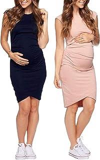46d62039c5329 Women's Sleeveless Midi Maternity Dress Cozy EUR-Style Print Dress for  Pregnant