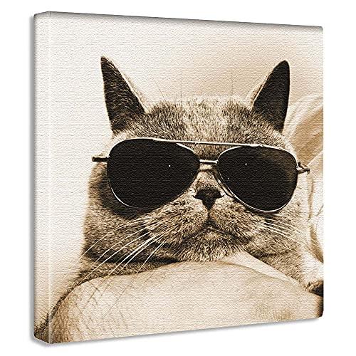 セピア 猫 アートパネル 30cm × 30cm 日本製 ポスター おしゃれ インテリア 模様替え リビング 内装 動物 ポップ ファッション ファブリックパネル pho-0103
