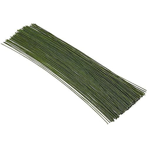 Juvale 200 piezas de alambre de tallo floral de 40,64 cm calibre 19 para manualidades, suministros para hacer flores y arreglos florales - verde oscuro