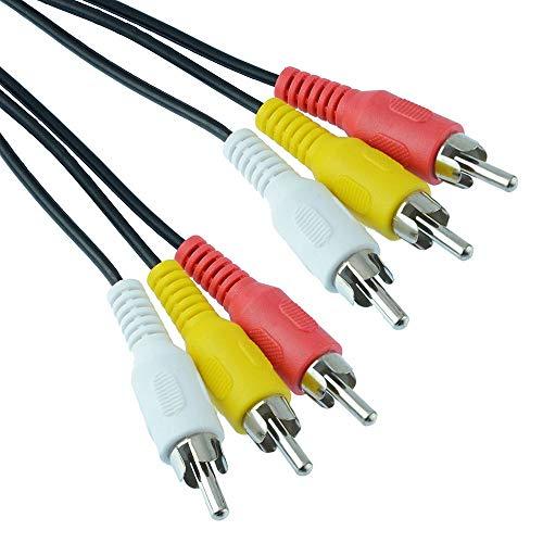 Triplo RCA maschio maschio maschio a presa phono – cavo video AV Audio Visual con spine gialle, bianco e rosso (10 m)