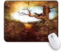 VAMIX マウスパッド 個性的 おしゃれ 柔軟 かわいい ゴム製裏面 ゲーミングマウスパッド PC ノートパソコン オフィス用 デスクマット 滑り止め 耐久性が良い おもしろいパターン (ハロウィンかわいいリスの木の植物カボチャきのこ)