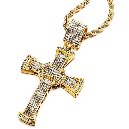 COOLSTEELANDBEYOND Grande Oro Collana con Pendente Croce con Zirconi, Uomo Donna Ciondolo Croce, Acciaio Inossidabile, Catena Corda 75CM