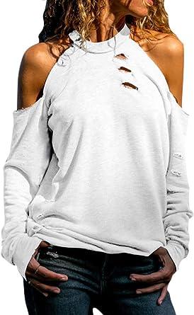 ShallGood Blusa y Camisa Mujer Manga Larga Hombro sin Tirantes Cuello Redondo Camisa Colores sólidos Casual Tops Suéter Jersey