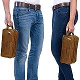 STILORD Kulturtasche Kulturbeutel groß mit Henkel Reise Waschtasche mit Fächern Vintage echtes Leder braun - 4