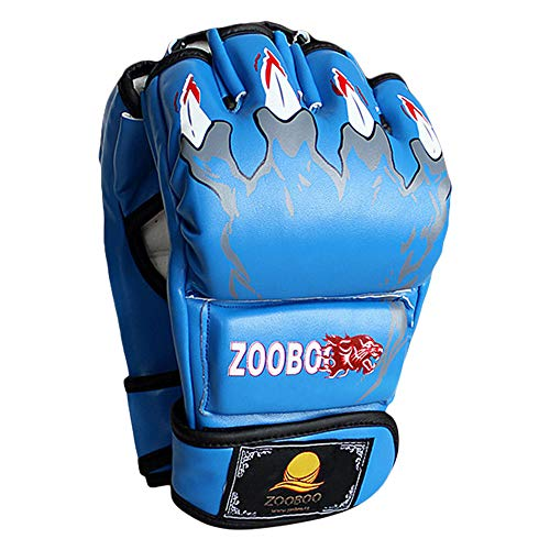 ZooBoo MMA Gloves, Half-Finger Boxing Fight Gloves MMA Mitts with Adjustable Wrist Band for Sanda Sparring Punching Bag Training (One Size Fits Most) (Blue)