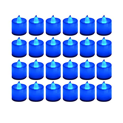 LANKER 24 Pack Flameless Led Tea Lights Candles - Flickering Battery Operated Electronic Fake Candles – Decorations for Wedding, Party, Christmas, Halloween and Festival Celebration (Blue)