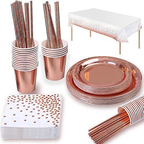Yidaxing 147 Pezzi Oro Rosa Party Tableware, Set Compleanno Oro Rosa Party Piatti per Stoviglie USA e Getta Carta per Matrimoni Stoviglie Tazza di Carta Tovagliolo in Oro Rosa Tovagliolo(24 Ospiti)